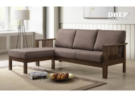 300628 L-Shaped Wooden Sofa